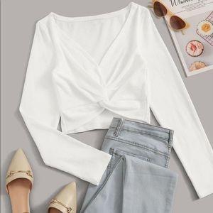 Twisted crop top long sleeve white rib knit shirt